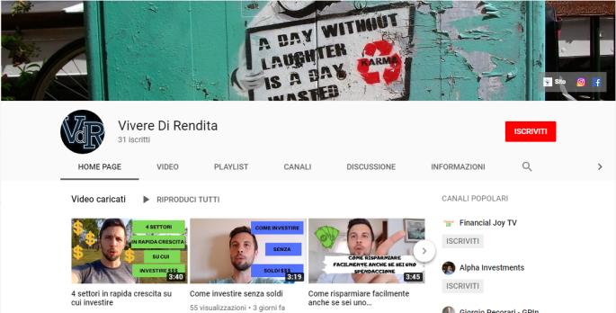 canale youtube vivere di rendita